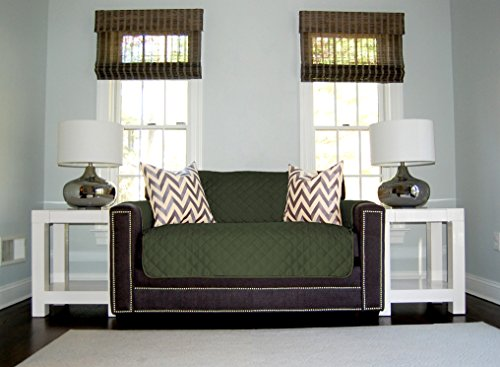 The Original SOFA SHIELD Reversible Furniture Protector, Features Elastic Strap (Loveseat: Hunter Green/Sage) - Sage Ashley Furniture