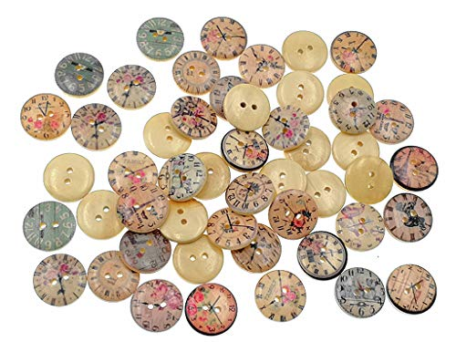 Kinteshun Wooden Buttons Round Natural Wood 2-Holed Fastener Buttons for Sewing Knitting Handcraft(100pcs,Off-White,Assorted Clock Dial Printing - Patterns Knitting Sweater Coats