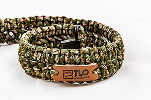 TLO Outdoors Paracord Gun Sling - Adjustable 2-Point Paracord Sling For Rifle, Shotgun, and Crossbows (550 Rated Nylon, Kernmantle Paracord, Extra Wide, GREEN CAMO)
