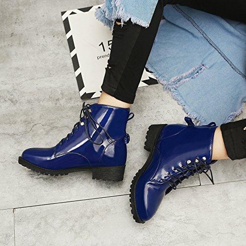Honeystore Damen Stiefeletten Lack | Worker Boots Schnürer | Grunge Punk Schuhe | Leder-Optik Schnallen | Schnürstiefeletten Blau