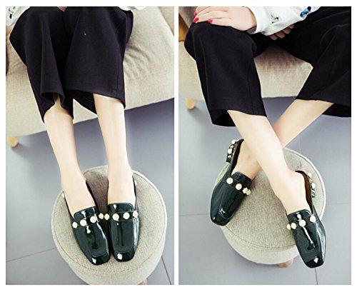 Plana de Suela Piso Piel Moda de Exterior Verde Perla DANDANJIE caseros Primavera Brillante de de PU y Mujer Zapatos Zapatos Zapatillas de Negro de Zapatillas Zapatos Verde xCqwvOx