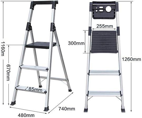Xsgsgfs Escaleras Plegables peldaños, Paso 3/4-Escalera Plegable de Aluminio, escaleras de Tijera Plegable, Domésticos de Cocina Escalera, Escalera Multiusos con no Slip Mat Banco Plegable y Trabajo: Amazon.es: Hogar