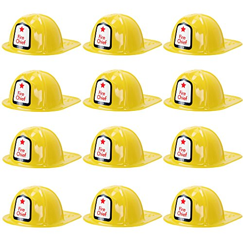 12-Pack Fireman's Helmet Kid's Halloween Costume Plastic Hat Accessory - Dress Up Theme Party Roleplay & Cosplay Headwear (Yellow)