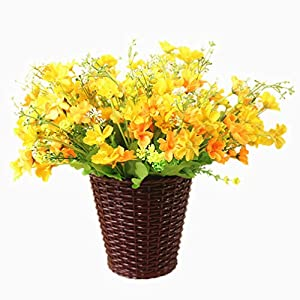Mynse Set of Artificial Daisy Flower with Brown Flower Basket Indoor Decoration 22