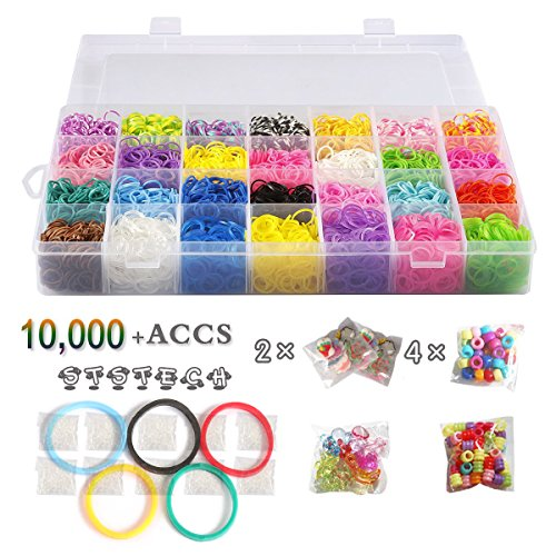 10,000 Rubber Bands Refill Pack Colorful Loom Kit Organizer for Kids Bracelet Weaving DIY Crafting with Crystal-like Charms,500 S-Clips,Mini Hook and 175 Beads ( XMAS Present Set in Rainbow Color ) by STSTECH