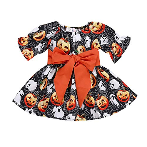 Treafor Kids Girls Long Sleeve Pumpkin Spider Ghost Printed Halloween Dress (5-6 Y, Black) -