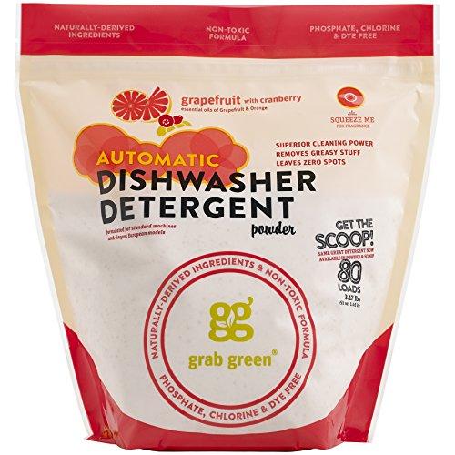 (Grab Green Natural Automatic Dishwashing Detergent Powder, Grapefruit and Cranberry, 80 Loads)