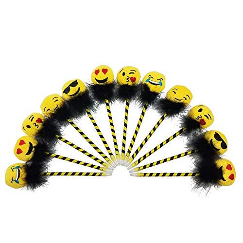 Emoji plush top cute set of pens