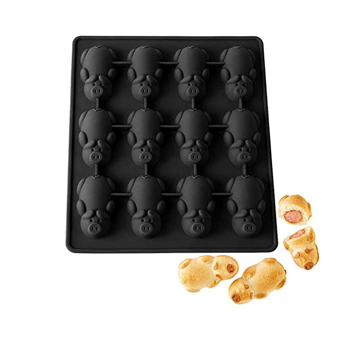 Amazon.com: Weite Multifunction 12 Little Pigs in a Blanket Silicone Baking Molds - Cute Black Piggy Cake Mould for Chocolate, Candy, Soap Etc (1 PACK): ...