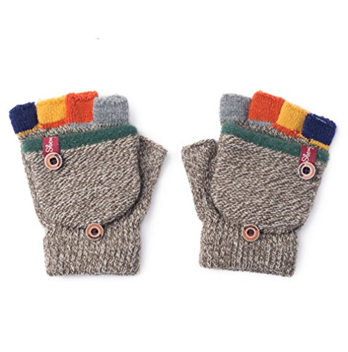 Image of the Turkoni Winter Warm Student Writing Gloves Baby Gloves Children Knitted Mittens, 3-6 years old (Khaki), Medium