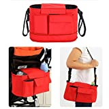 Fengirl Stroller Organizer Bag for Smart Moms - Universal Adjustable Strap - Baby Travel Accessory - Great idea for new parents gift (Red)
