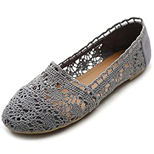 Ollio Womens Shoe Lace Ballet Breathable Flat