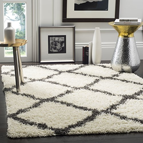 Area Modern Rug Geometric Contemporary (Safavieh Dallas Shag Collection SGD257H Ivory and Dark Grey Square Area Rug (6' Square))