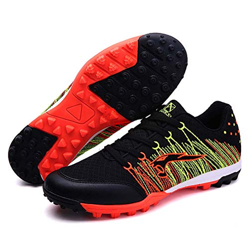 WEJIESS Boy's Men's Cleats Soccer Shoe Athletic Performance Lightweight Breathable Mesh Flexible Lace-up Football Training Boots Sport Sneakers Black 41