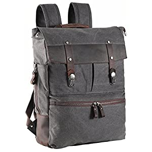 ZEKAR Canvas Leather Laptop Backpack, Vintage School Travel Waxed Rucksack for Men