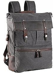 ZEKAR Canvas Leather Laptop Backpack, Vintage School Travel Waxed Rucksack for Men