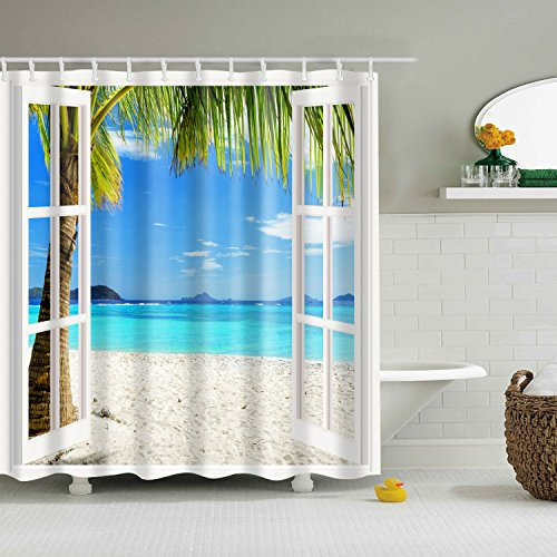Beach Ocean Theme Shower Curtain HUIDANG Wavy Ocean Surface Scenery Polyester Fabric Mildew Resistant And Waterproof Bath Curtains,72
