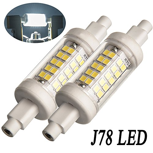 McDen R7S LED Bulbs 78mm 3inch, Undimmable 6W Daylight White 6000K, 600LM, 30W Halogen Bulbs Equivalent 100V-240V , 2 Pack (J78 78MM, Daylight 6000K) Watt Halogen Replacement Bulb