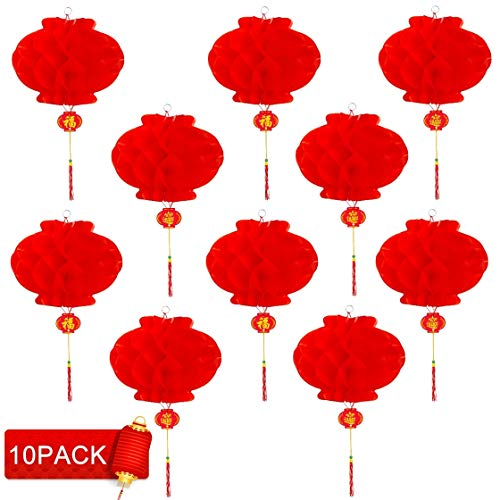 iphonepassteCK Red Chinese Lanterns for Chinese New Year, Spring Festival, Chinese Festival Celebration Supplies or Décor(10 x Red Plastic Paper Lanterns, 31cm) -