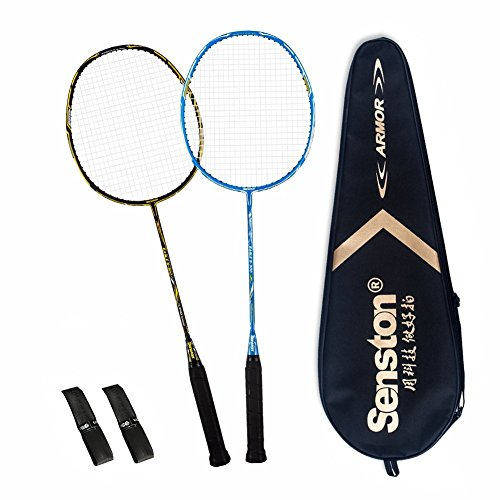 Senston 100% Full Carbon Fiber Badminton Racket Set 2 Graphite Badminton Racquet with Racket Cover and overgrips