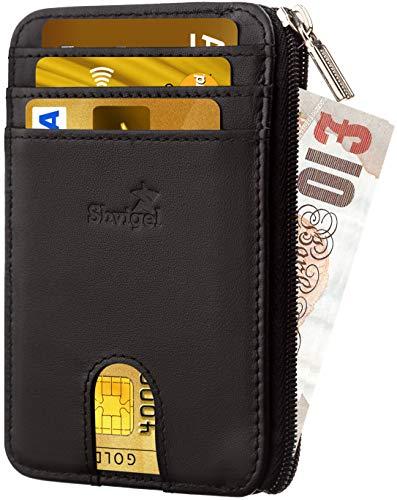 Slim Wallet Credit Card Holder - Leather RFID Blocking Minimalist Mens Wallet
