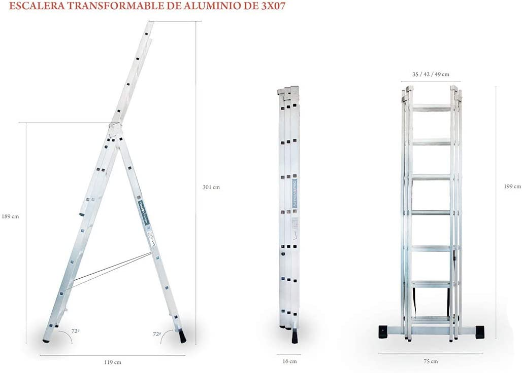 ALTIPESA Escalera Profesional de Aluminio Triple Tijera un Acceso con Tramo Extensible 3 x 7 peldaños Serie Triple: Amazon.es: Hogar