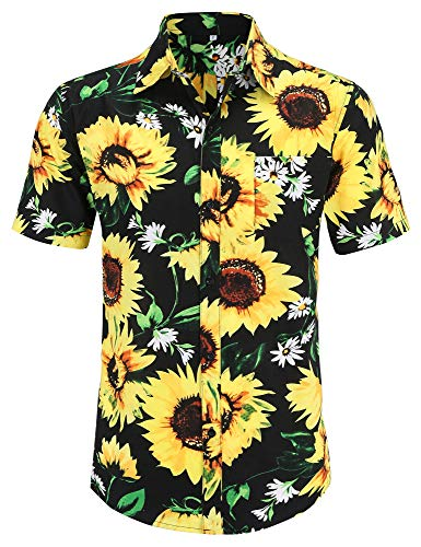 PEGENO Men's Flower Casual Button Down Short Sleeve Hawaiian Shirt (Medium, Light-Sunflower)