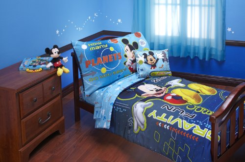 Disney Mickey Mouse Space Adventures 4 Piece Toddler Set, Blue (Mouse Mickey Sheets Bed Toddler)