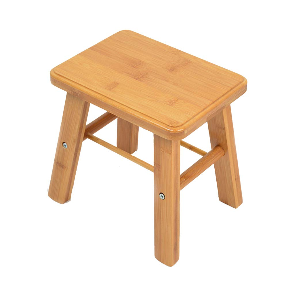 Small square stool ZHANGGUOHUAstools Footstool Step Stools Work Stool Bamboo Household Bedroom Living Room Bathroom Primary color Multiple Choices (Size   Folding stool)