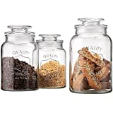Value Saving Quality Canister Glass Round Jar with Tight Lids for Bathroom or Kitchen - Food Storage Containers, Clear