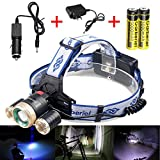 ShineTool Adjustable Rechargeable LED Headlamp 3 Modes, Zoomable and Waterproof Headlamp for Free Work, Hiking, Camping, Climbing, Running and Adventure