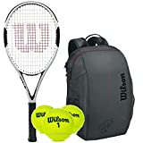 Wilson H6 (Hammer) Pre-Strung Extended Black/White Tennis Racquet (4 3/8' Grip) with a Federer Team Tennis Backpack and Can of Balls (Beginner to Intermediate Racket)