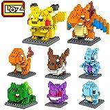 LOZ 8box Diamond Block Pokemon Pikachu Squirtle Bulbasaur Eevee Bulbasaur Charizard Gengar Mewtwo 1180pcs Parent-child Games Building Blocks Children's Educational Toys