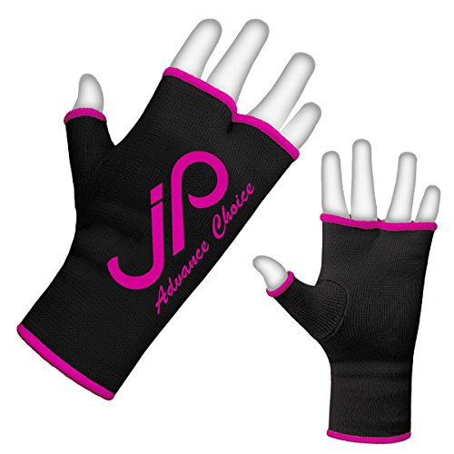JP Training Boxing Inner Gloves Hand Wraps MMA Fist Protector Bandages Mitts (Black/Pink, M)