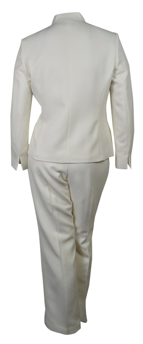 Evan Picone Women's City Chic Textured Three Button Pant Suit (8, Ivory) by Evan Picone (Image #2)