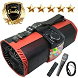 EMB Bluetooth Boombox Street Disco Stereo Speaker - 3600mAH Rechargeable Battery Portable Wireless 300 Watts Power FM Radio/MP3 Player w/Remote and Disco Lights w/EMB Microphone (Red)