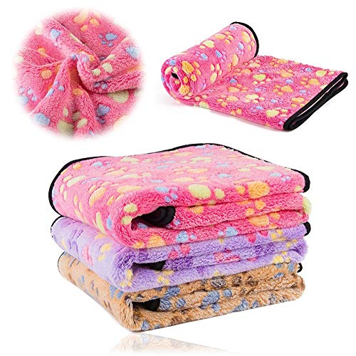 kiwitatá Soft Warm Fleece Fabric Puppy Dog Blanket Pet Mat Bed Blanket Throw with Paw Print for Car, Couch, Sofa and Pet Bed(24