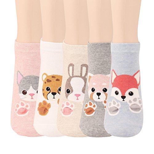 WOWFOOT Animal Zoo Casual Cute Fun Cotton Print Ankle Socks Design  Safari-5 pairs  Safari-5 Pairs One Size