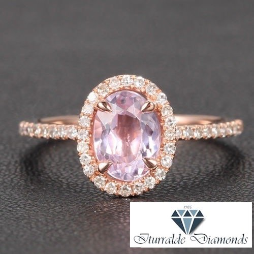 Kunzite Yellow Ring - 14k Oval Cut Kunzite Diamond Pave Halo Engagement Ring