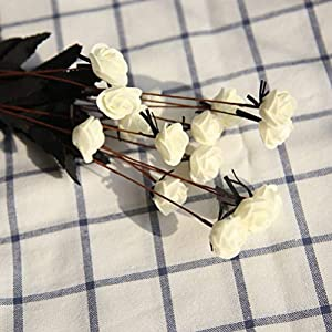 """YJBear 1 Piece 19.68"""" Elegant Silk Artificial Rose Flower Fake Flower Arrangement for Indoor Outdoor Home Wedding Party Garden Decoration 2"""