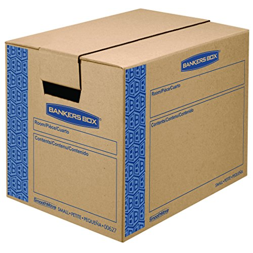 Fellowes Banker Boxes - Bankers Box SmoothMove Prime Moving Boxes, Tape-Free, FastFold Easy Assembly, Handles, Reusable, Small, 16 x 12 x 12 Inches, 10 Pack (0062701)