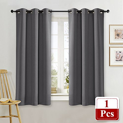 NICETOWN Blackout Curtain Blind for Bedroom Thermal Insulated Grommet Blackout Room Darkening Drape/Drapery (Single Panel, W42 x L63 -Inch, (Gray Single)