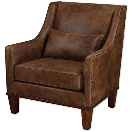 Weathered Hickory Fabric Armchair With Pillow From The Clay Collection