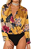 Angashion Women's Sexy Deep V Neck Floral Print Bodysuit Blouse Clubwear Tops Jumpsuit