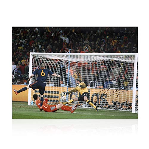 Andres Iniesta Signed Spain Photo: World Cup 2010 Winning Goal | Autographed Memorabilia