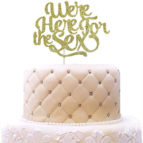 - We're Here for the Sex Gender Reveal Cake Topper, Boys or Girls, He or She Cupcake Party Decorations Gold Glitter