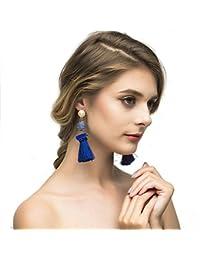 Bohemian Thread Tassel Pom Pom Drop Dangle Earrings with Pearl Stud Soriee Ball Earrings for Women Grils