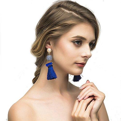 yal Blue Thread Tassel Pom Pom Drop Dangle Earrings with Pearl Stud Soriee Ball Earrings for Women Grils ()