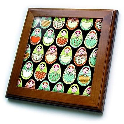 3dRose ft_58632_1 Cute Russian Matryoshka Nesting Dolls Print-Warm Colors Black-Framed Tile, 8 by 8-Inch