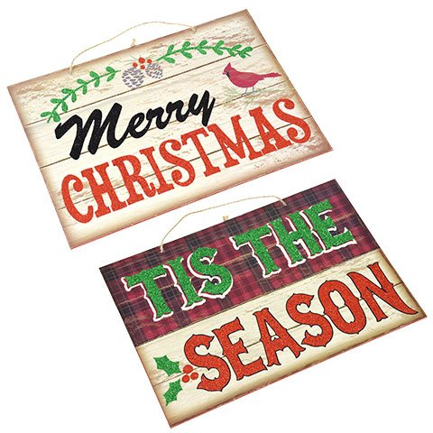Holiday Season Santa (Wooden Christmas Sign (13X10) Plaque Decorations for Outdoor or in House. Hang on Wall or Front Door. Xmas 2017 Merry Holiday Gift. Tis The Season. Add to Santa Snowman and Reindeer. Hanger Included)
